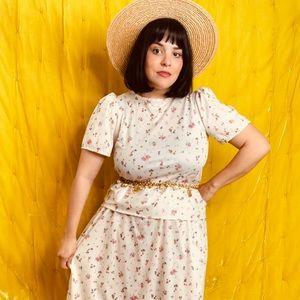 Vtg 70s Floral Peplum Skirt midi Dress S M